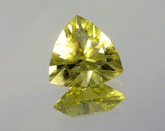 """Faceted Gemstone for Jewelry or Display - Lemon Citrine (heat treated) - """"Cushion Triangle"""""""