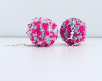 Peppermint Pink - handmade pom-pom earrings
