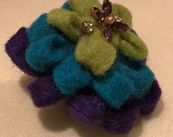 Felted wool brooche with repurposed vintage pearl and amethyst rhinestone embellishments