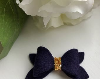 Spring Collection Hair Bow Pack   Navy Wool Felt   Gold Glitter   Baby   Toddler   100% Wool