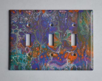 Acrylic pouring on triple toggle wall plate #303