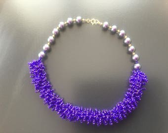 2018 Pantone colour of the year ultra violet seedbeaded and Swarovski pearl necklace