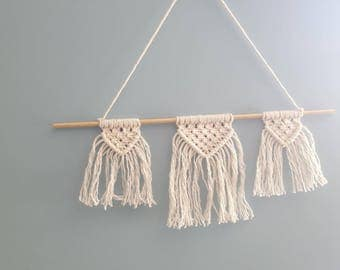 small macrame wall hanging, cotton thread, wooden stick