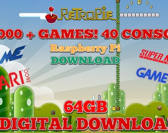 64GB Preloaded RetroPie Download for Raspberry Pi - 100,000+ GAMES! - DOWNLOAD ONLY