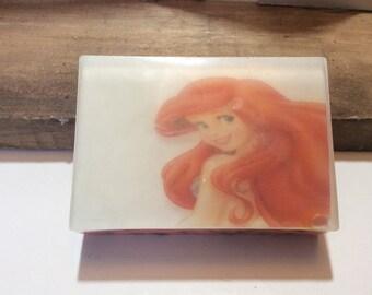 Handmade organic soap, Disney cartoon Mermaid, gift bar soap