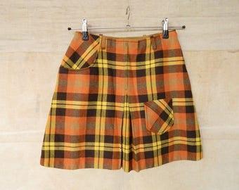 60s skirt/vintage skirt/plaid skirt/miniskirt/60s skirt/rock wool