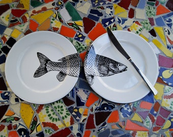 """Pair of Enamel Side Plates Mexican Fish Original Art Work Contemporary Design """"Sip of the Sea"""""""