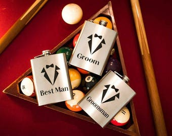 Groom, Best Man and Groomsman Flasks, Flasks, Custom Glasses