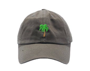 Palm Tree Dad Hat / Custom Embroidered Hats / Embroidery Baseball Cap / Olive Dad Cap / FREE SHIPPING