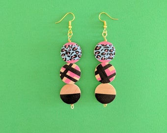 Pink leopard wood earrings