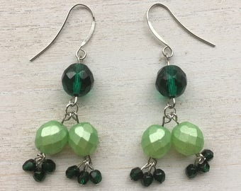 Czech Crystal Emerald Beaded Drop Earrings
