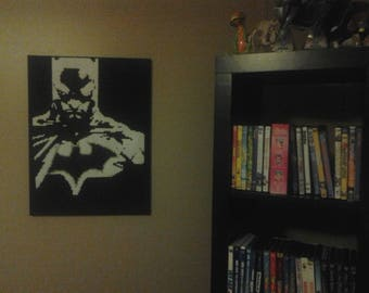 Batman perler on canvas