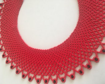 Red necklace - Red and black necklace - Red beaded necklace- Elegant necklace - Hot red necklace.