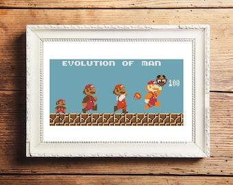 Nintendo Super Mario Bros. Evolution of Man Cross Stitch Pattern (Digital Download)