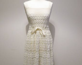Hand-knitted white dress