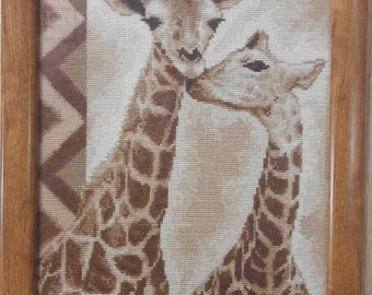 Loving giraffes. Embroidered picture. Exclusive!