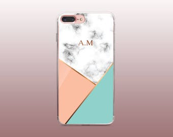 Personalised marble monogram TPU Phone Case for iPhone 8- iPhone 8 Plus - iPhone X - iPhone 7 Plus-iPhone 7-iPhone 6-iPhone 6S-Samsung S8