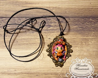 Halloween, Pumpink, witch, doll, Pendant