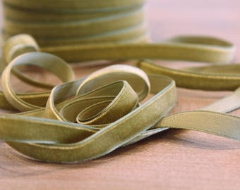 3/8 inch Moss Green Velveteen Ribbon by the Yard / 10 MM Velveteen Ribbon / Velvet / Moss Green / ER-V570