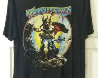 MOLLY HATCHET Vintage 80s Hell Yeah Promo T shirt with band members signature. Large size