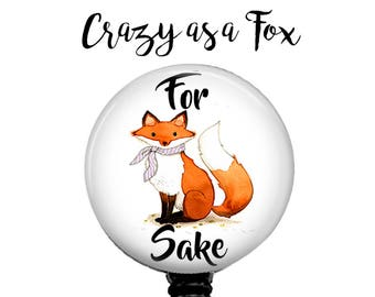 For Fox Sake Retractable Badge Holder, Badge Reel, Lanyard, Stethoscope ID Tag, Nurse, RN, Doctor, Teacher, Nursing student