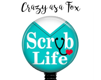Scrub Life Retractable Badge Holder, Badge Reel, Lanyard, Stethoscope ID Tag, Nurse, OR Nurse, Surgical Tech