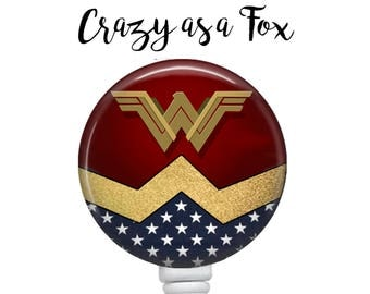 Wonder Woman Retractable Badge Holder, Badge Reel, Lanyard, Stethoscope ID Tag, doctor, md, pa, cna  Nurse, rn, teacher, student  Gift