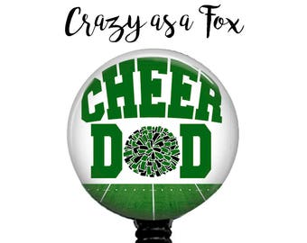 Cheer Dad Retractable Badge Holder, Badge Reel, Lanyard, Stethoscope ID Tag, Nurse, RN, Doctor, Teacher, md cna lpn rrt pa gift