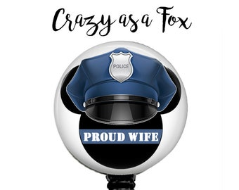 Mickey Mouse Proud Police Wife Retractable Badge Holder, Police TBL Badge Reel, Lanyard, Stethoscope ID Tag, Nurse, RN, Doctor, Teacher Gift