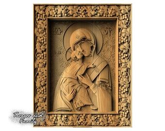 Virgin Mary icon wood carving Easter gift Religious icon Orthodox icon Christian icon Byzantine icon Russian icon Holy icon Catholic icon