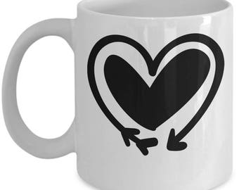 Double Heart Arrow - High Quality Cute White & Black Ceramic 11 oz or 15 oz Mug -Love Valentine's Day Mother's Day Mom Wife Girlfriend Gift