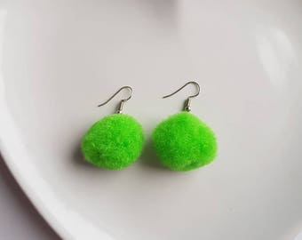 Large pom pom earrings | Bright | Popular | Statement