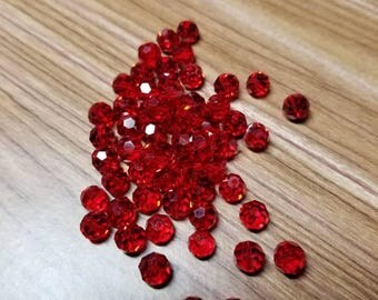 Czech, Siam beads, , glass beads, red beads, red glass round beads, faceted, 6mm