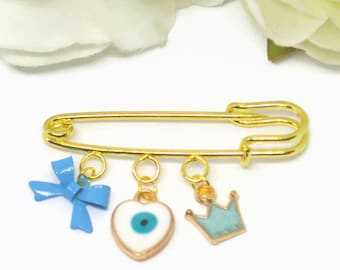 Gold Evil Eye Pin, Stroller Pin, Newborn Gift, Baby Shower Gift