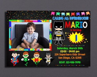 Superhero kids Invitation, Superhero kids, Superhero, Super Hero Baby Party Invitation, Superheroes Babies Birthday Invitation with Photo