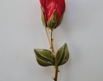 "Vintage Valentine Red Rose Enamel Flower 3"" Brooch Pin Gold Tone Green Leaves"
