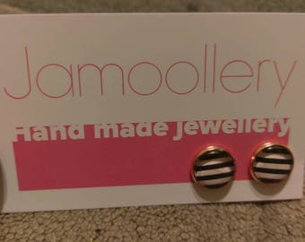 Rose gold black and white stripped studs
