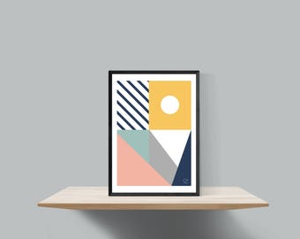 Bold geometric scandinavian inspired print , Untitled #1