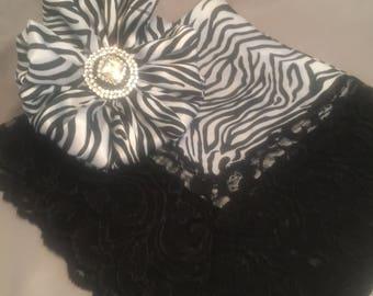Black and White Zebra Print Brooch/ Lap Hankie Set