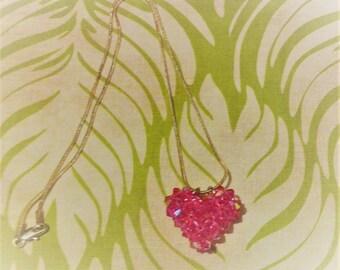 3D Swarovski Crystal Heart Necklace