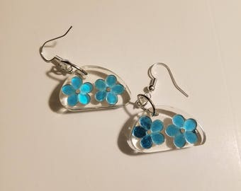 Resin earrings snowflakes white blue flowers unique fun winter spring