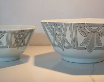 Vintage Fitz and Floyd PAIR of Octagon Bowls
