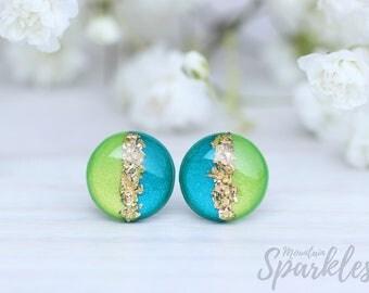 Green Turquoise Stud Earrings, Hypoallergenic, Titanium, Minimalist Earring, Gift mature, Bridesmaid Gift, Simple Earrings, Wedding earrings