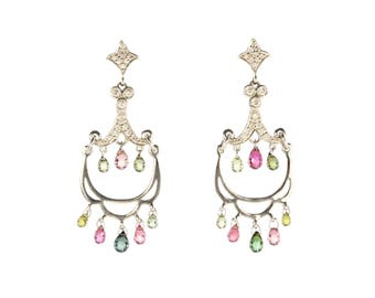 A pair of pink & green tourmaline and diamond earrings in white gold