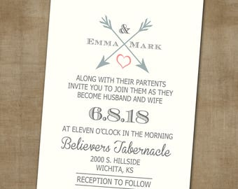 Wedding Invitation, Wedding Invitation with Matching RSVP and Other Information Card, Arrow and Heart Wedding Invitation, Trendy Wedding Inv