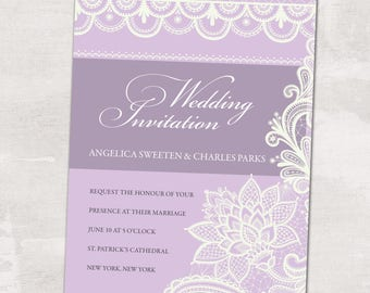 Wedding Invitation, Wedding Invitation with Matching RSVP and Other Information Card,  Lace Wedding Invitation, Contemporary Wedding Inv