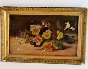 Antique Victorian Pansy Oil Painting Original Frame 1800s