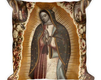 Virgin of Guadalupe - catholic art - soft pillow - religious gift ideas - Our Lady of Guadalupe art - religious pillows - Virgin Mary pillow