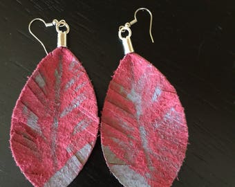 Genuine red leather leaf earrings dipped in gray