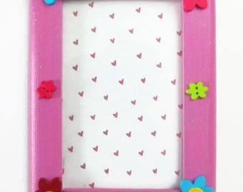 Painted Wooden Flower Button Picture Frame For Kids